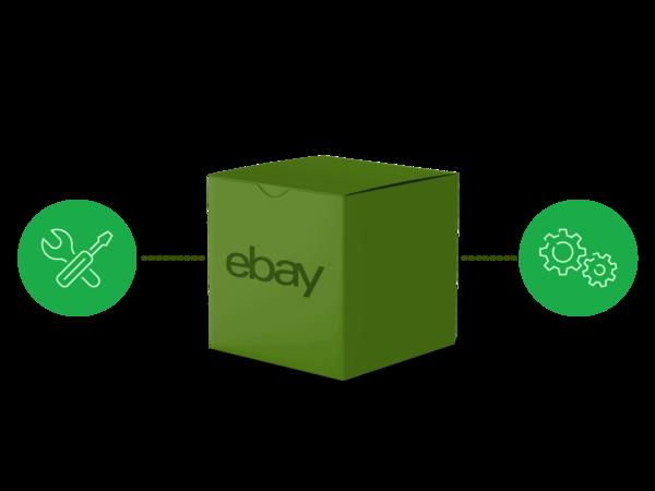 Pacco eBay con icone delle impostazioni