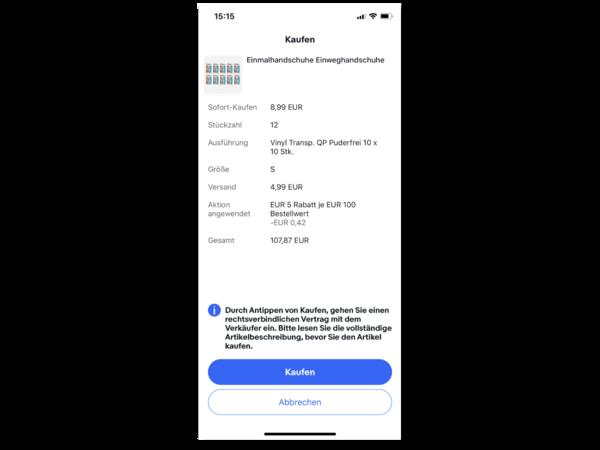 Mengenrabatt-Aktion Screenshot mobile