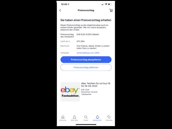Screenshot Preisvorschlag an Käufer auf Mobilgerät