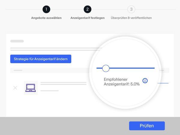 Screenshot: Empfohlener Anzeigentarif