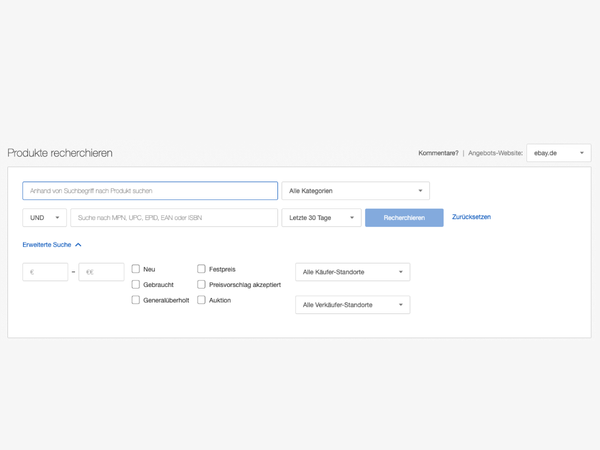 Screenshot: Terapeak Produktrecherche